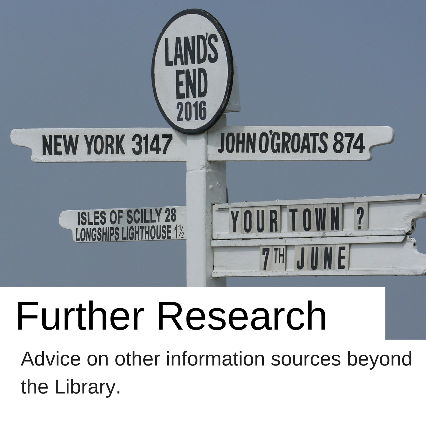 Further research advice on other information sources beyond the Library.