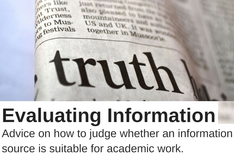 Evaluating information advice on how to judge whether an information source is suitable for academic work.