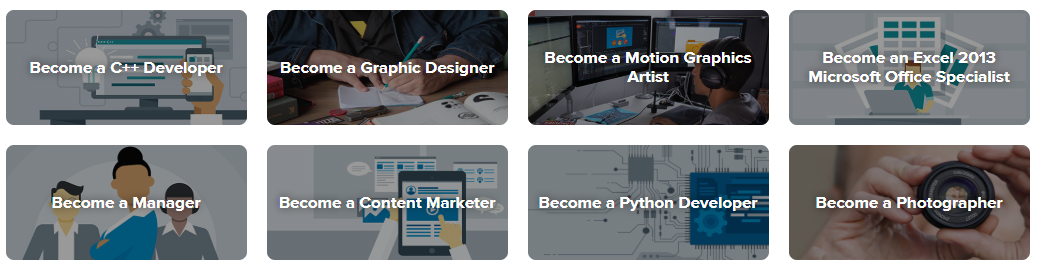 Examples of Lyna courses include: C++, Graphic Design, Motion Graphics, Excel, Management, Content Marketing, Python, Photographer