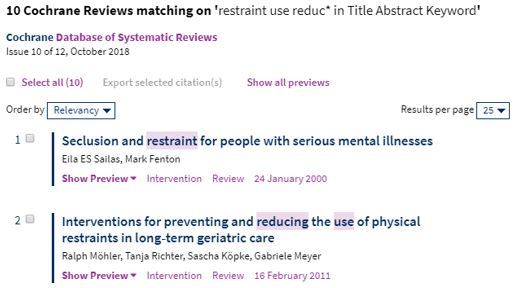 Cochrane Library Search Results Citations