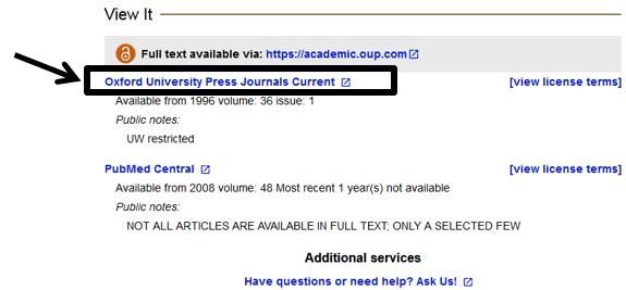 UW Libraries Search: View It area, full text article link