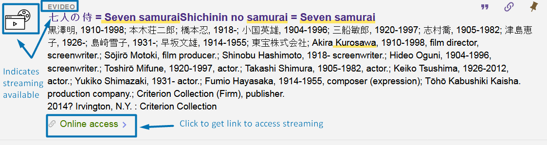 screenshot of catalog record for Seven Samurai eVideo