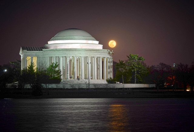 Jefferson Memorial at night with Moon in backgroun