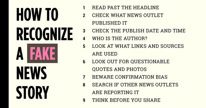 Infographic for steps to recognizing fake news
