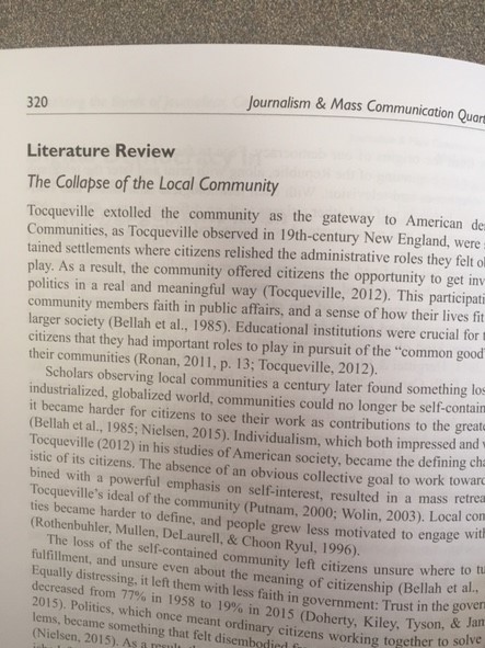 page of journal featuring literature review