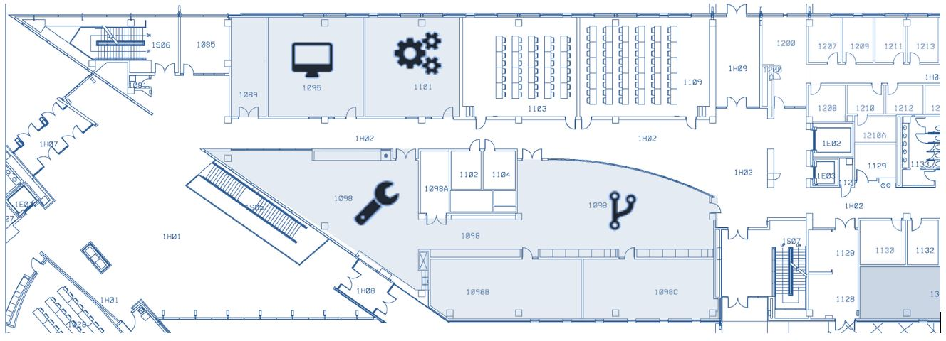 Photo of floor plan for EPICS Lab Spaces