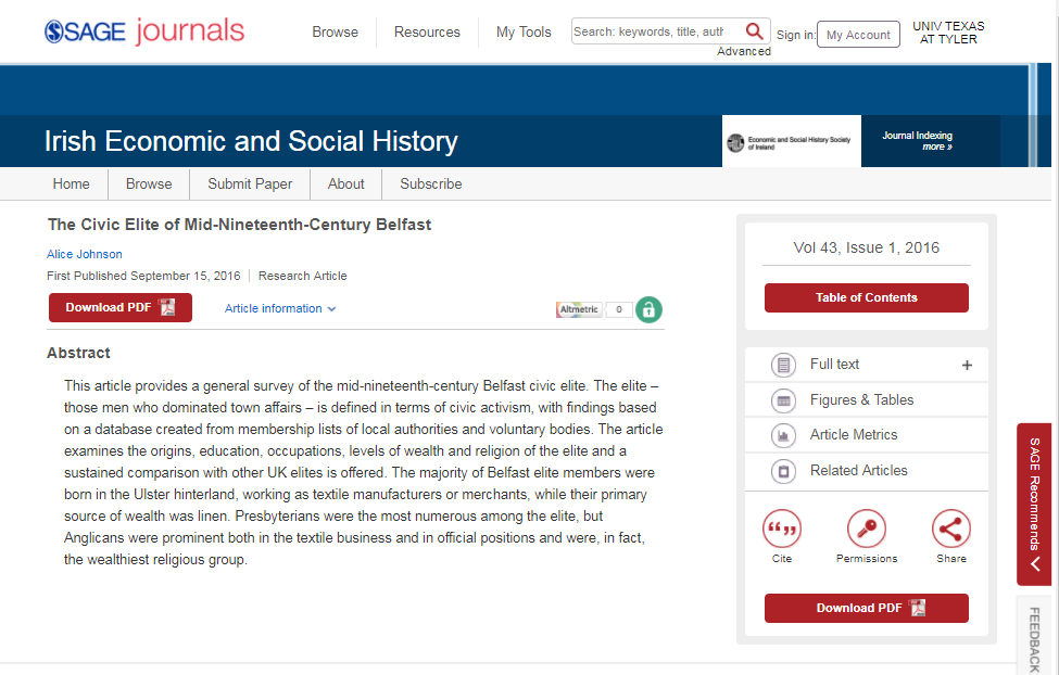 Entry for article from the journal Irish Economic and Social History in the SAGE journals database, with a link to PDF.