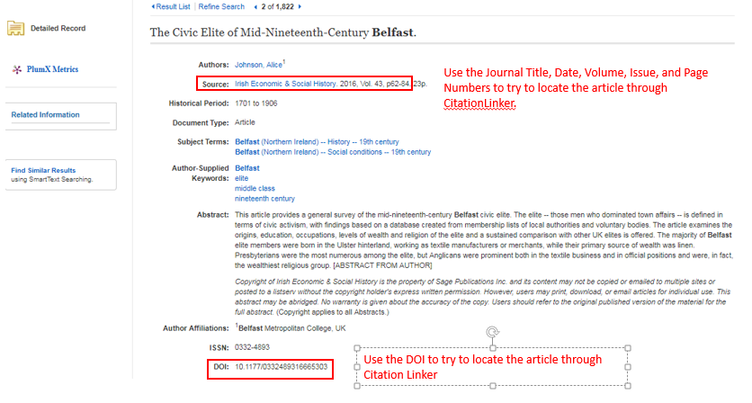 Screenshot showing an example article record.  Use the Journal Title, Date, Volume, Issue and Page Numbers to try to locate the article through CitationLinker, or use the DOI to try to locate the article through CitationLinker.