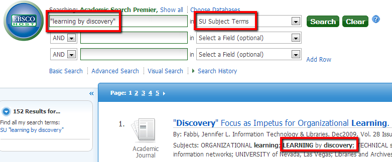 ebsco databases search example