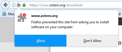 "Pop up screen on firefox reading ""Firefox prevented this site from asking you to install software on your computer."" The ""allow"" option is highlighted in blue."