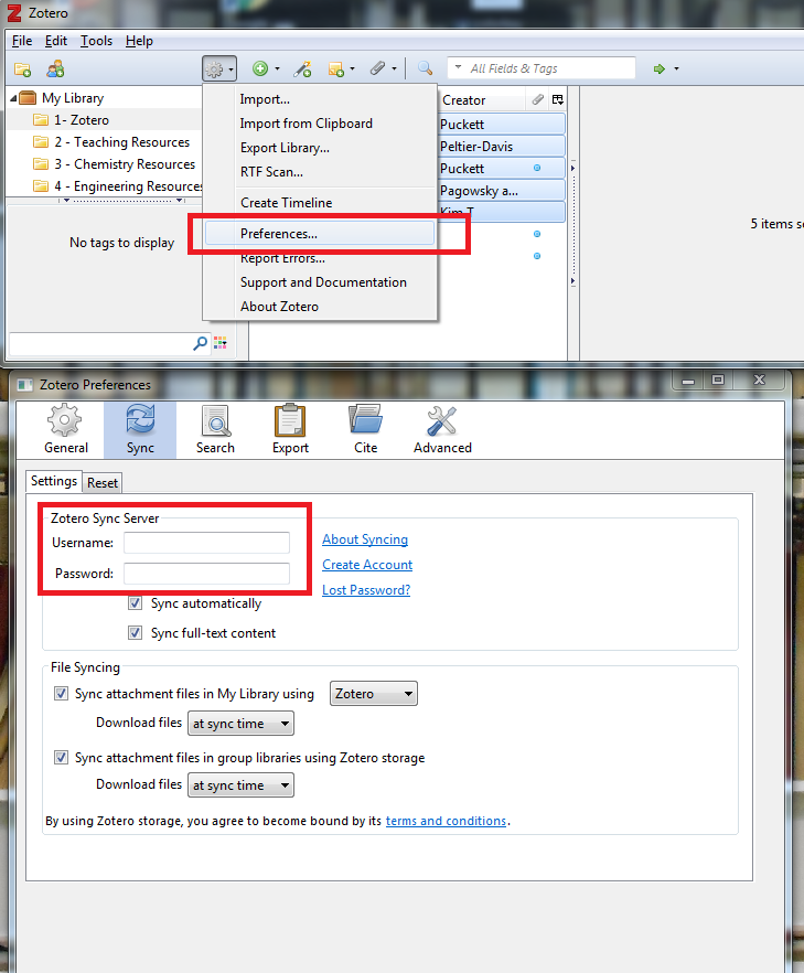 Zotero with the right-click menu open to preferences, and the preferences window open to sync. User name and password are circled.