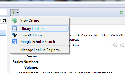 "Drop down menu with ""Library Lookup"" highlighted."