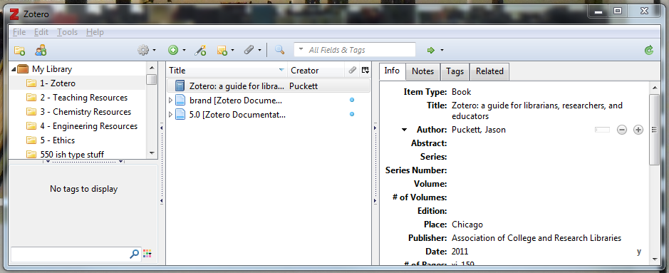 Zotero program consisting of three vertical panes. One pane has folders, one pane has individual items, and the third pane has citation information for each item.