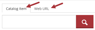 Catalog Item and Web URL are two tabbed options.