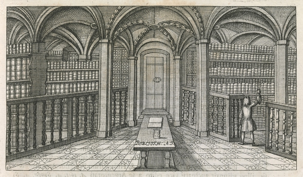 Image an engraving of an 18th century university library