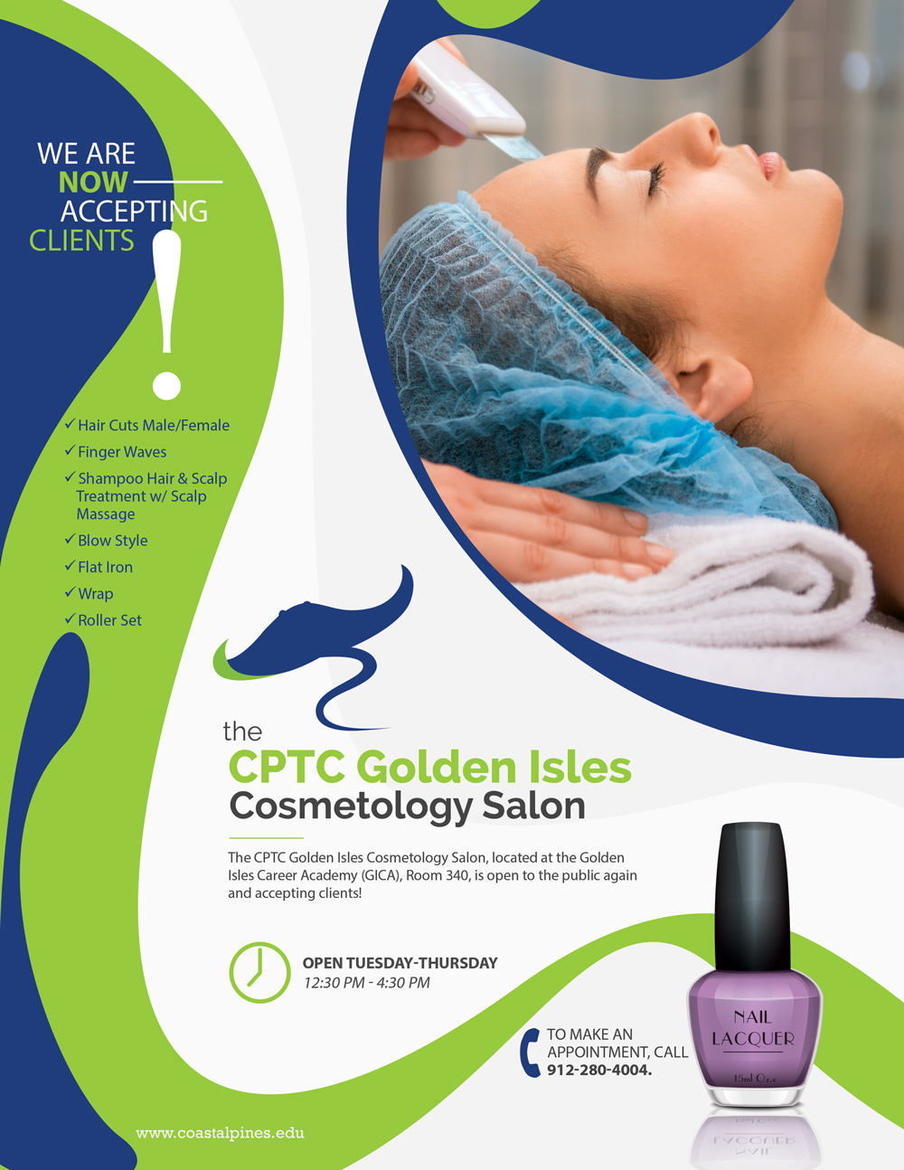Promotional poster for Golden Isles cosmetology salon