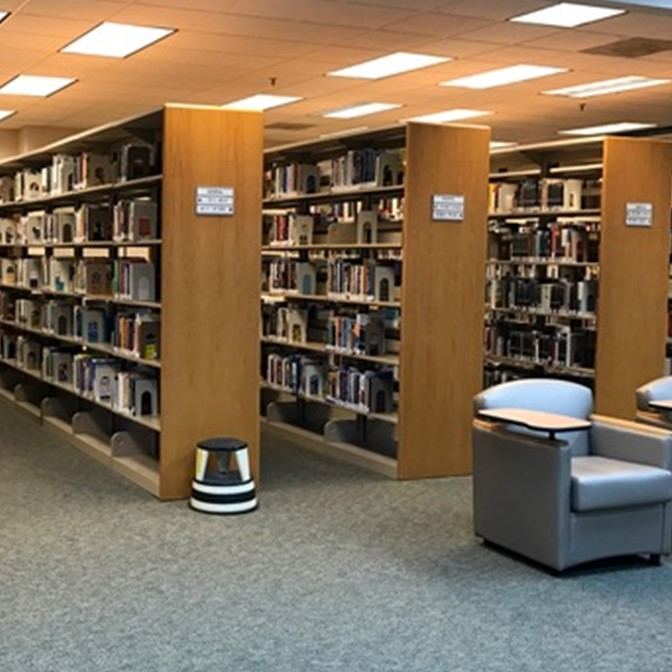 Book shelves in the Jesup Library