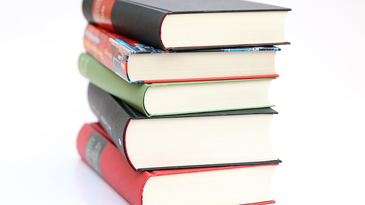 Stock photo of a stack of books.