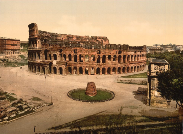 [The Colisuem and Meta Sudans, Rome, Italy] (LOC)  [The Colisuem and Meta Sudans, Rome, Italy]   [between ca. 1890 and ca. 1900].
