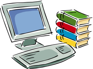 Clipart of computer and books