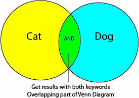 venn diagram showing that you get back overlap if you use the Boolean Operator AND with your two keywords in a search