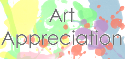 "Word ""art appreciation"" with splashes of color"