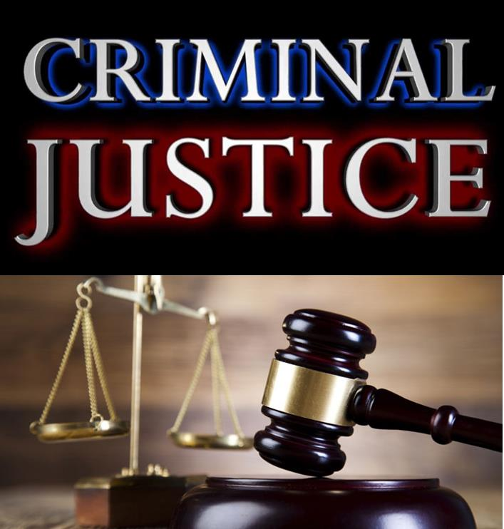 "Words 'criminal justice"" with the scales of blance and hammer of justice."