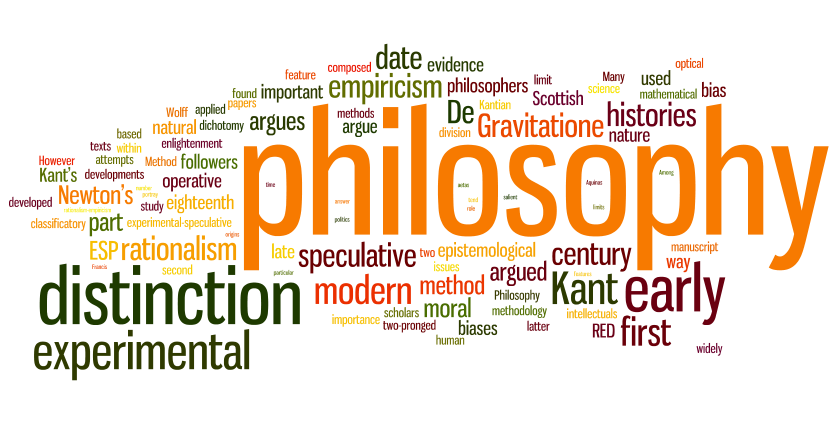 """Philosophy"" surrounded by a collage of topics: distinction, histories, experimental, etc."