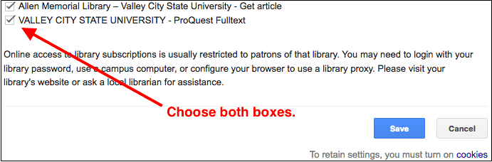 Library options on Google Scholar Library Links settings screen.