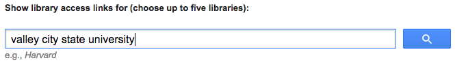 Google Scholar library links search box.