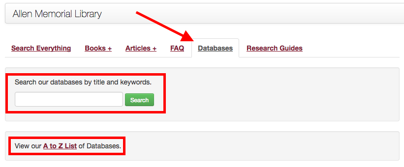 Image of library homepage with arrow pointing to Databases tab. The search box and A to Z link are highlighted in red boxes.