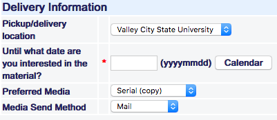 Screenshot of interlibrary loan request page.