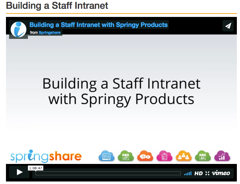 build a staff intranet with springy tools video