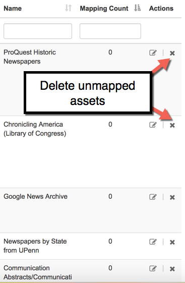 deleting unmapped LibGuides assets
