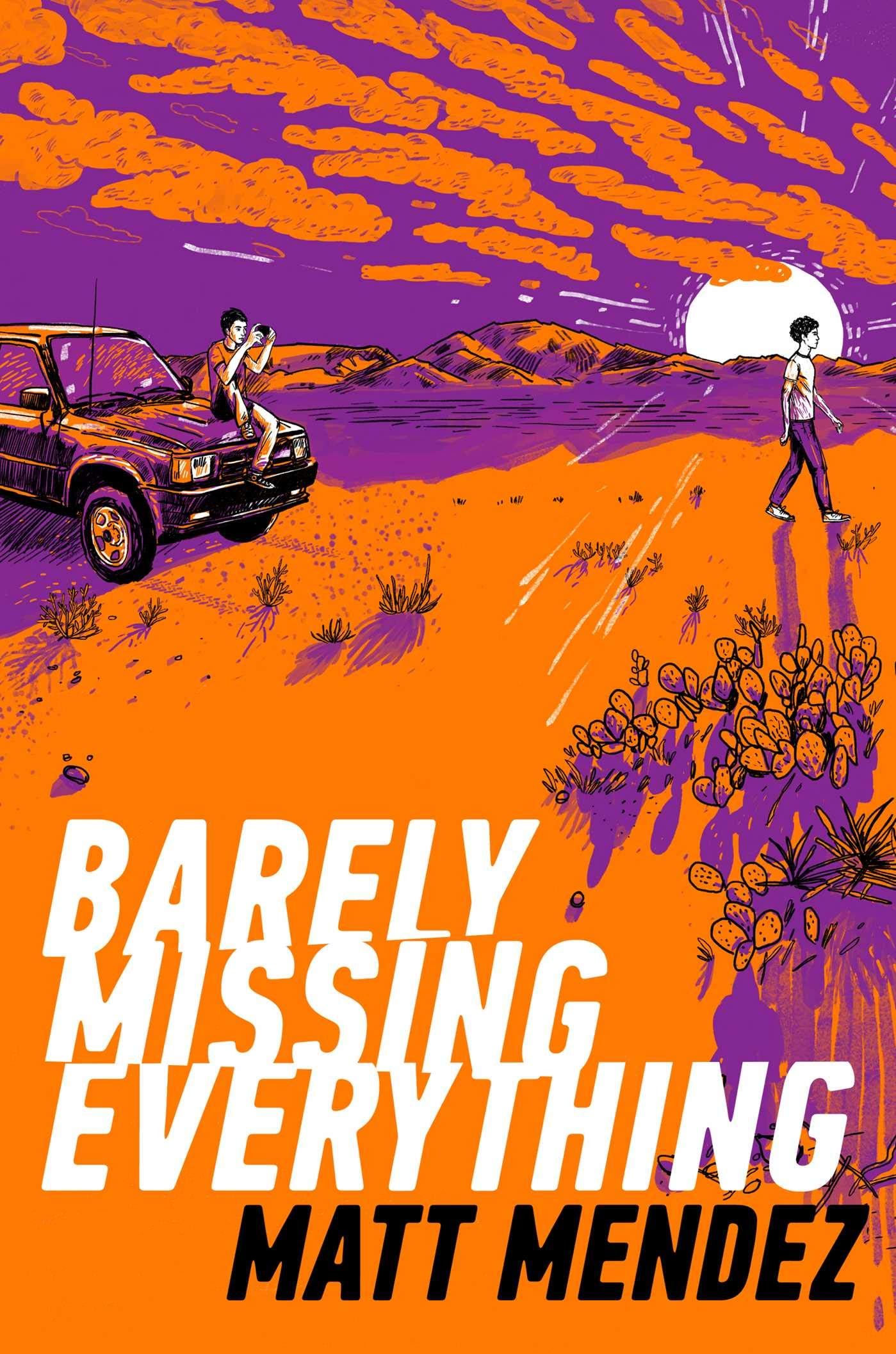 orange and purple cover with two boys and a car