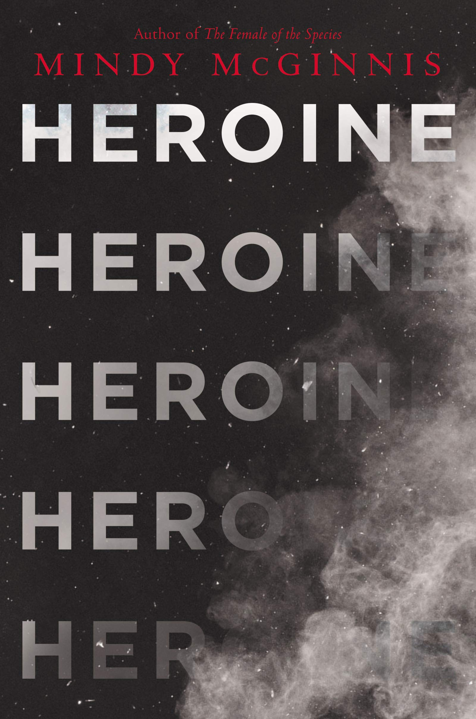 Black cover with the word Heroine repeatedly turning into dust