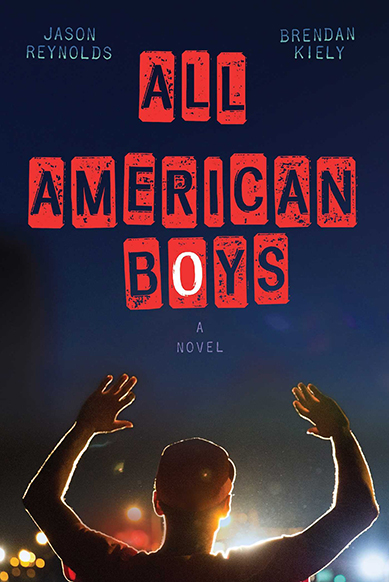 Blue book cover, two boys with their hands up
