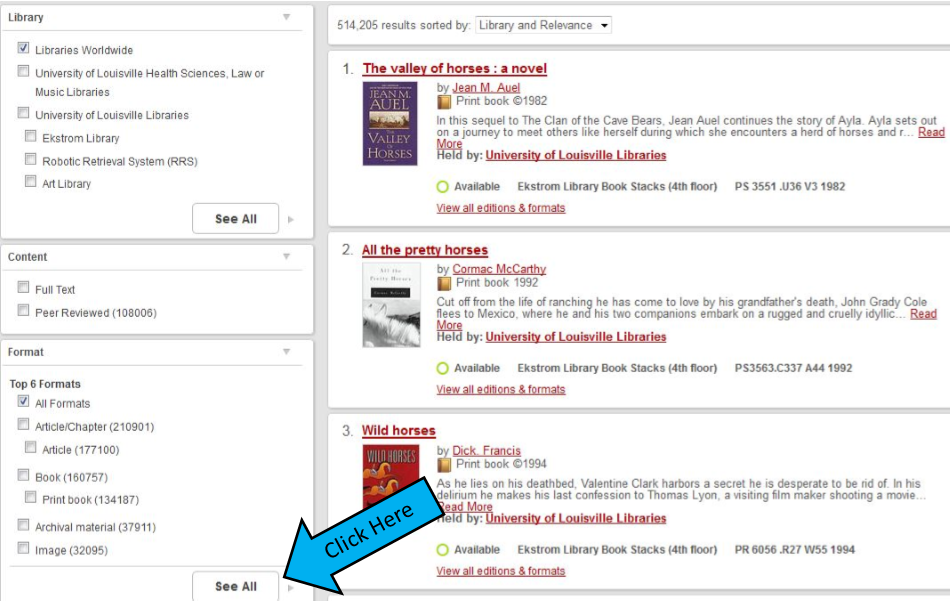 "Screenshot of search results with arrow indicating to click on ""See All"" under ""Format."""