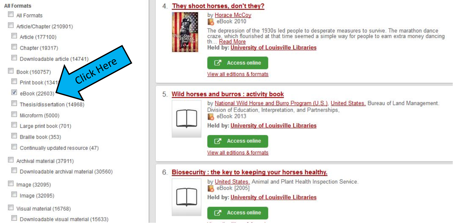 "Screenshot of search results with arrow indicating to select ""ebooks."""