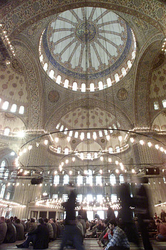 Photo of interior of the Blue Mosque