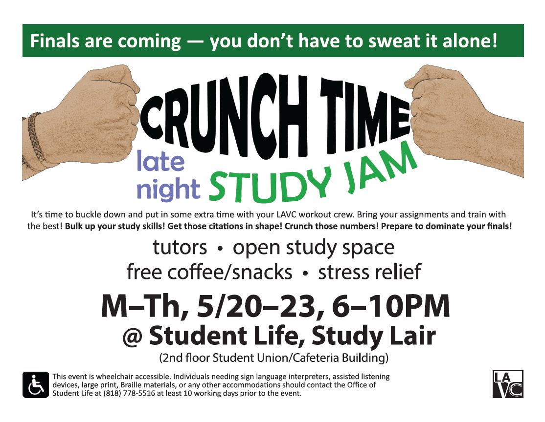 Event flyer for Late Night Study Jam (click below for accessible version)