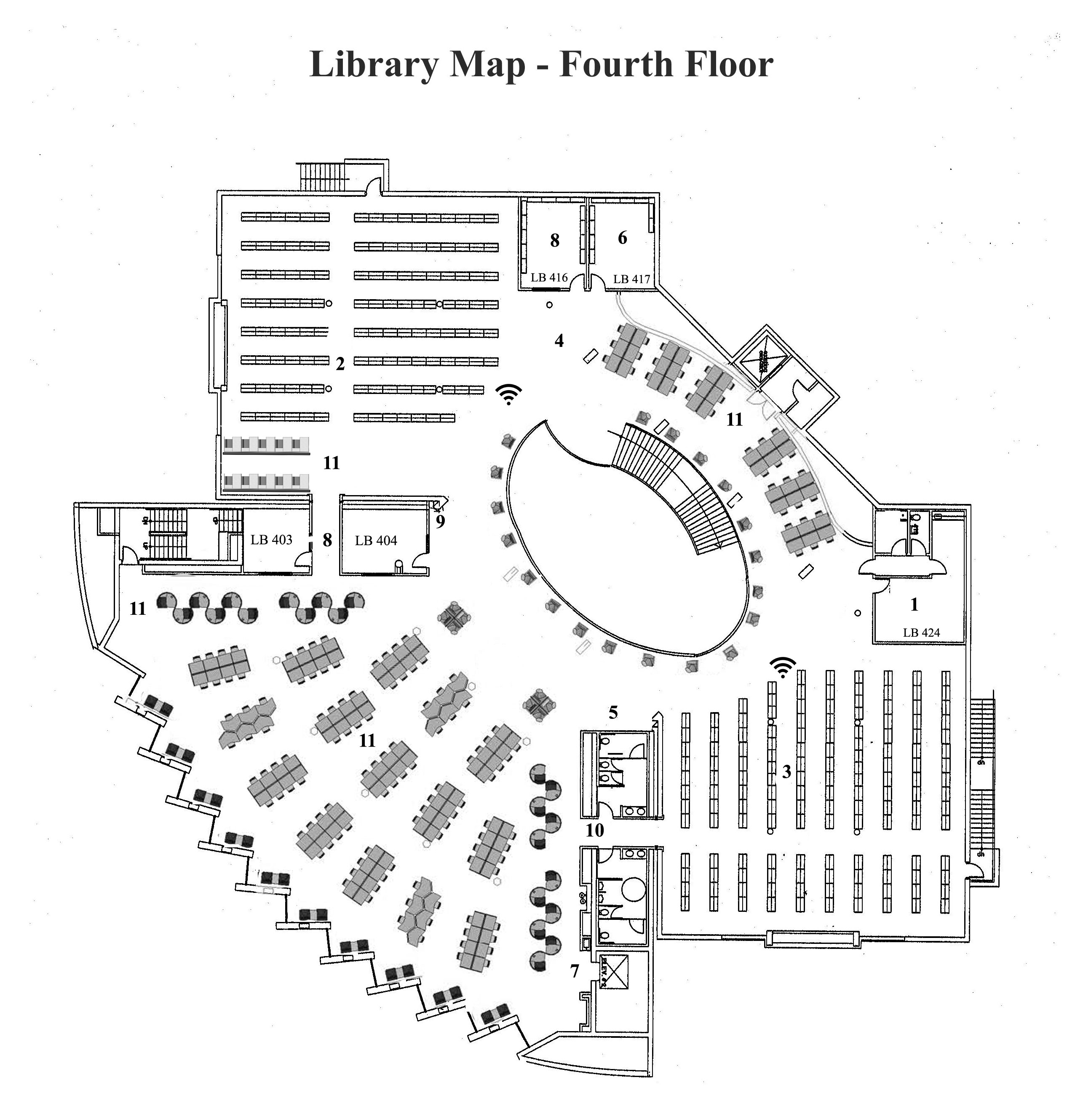 Map of Library 4th floor plan