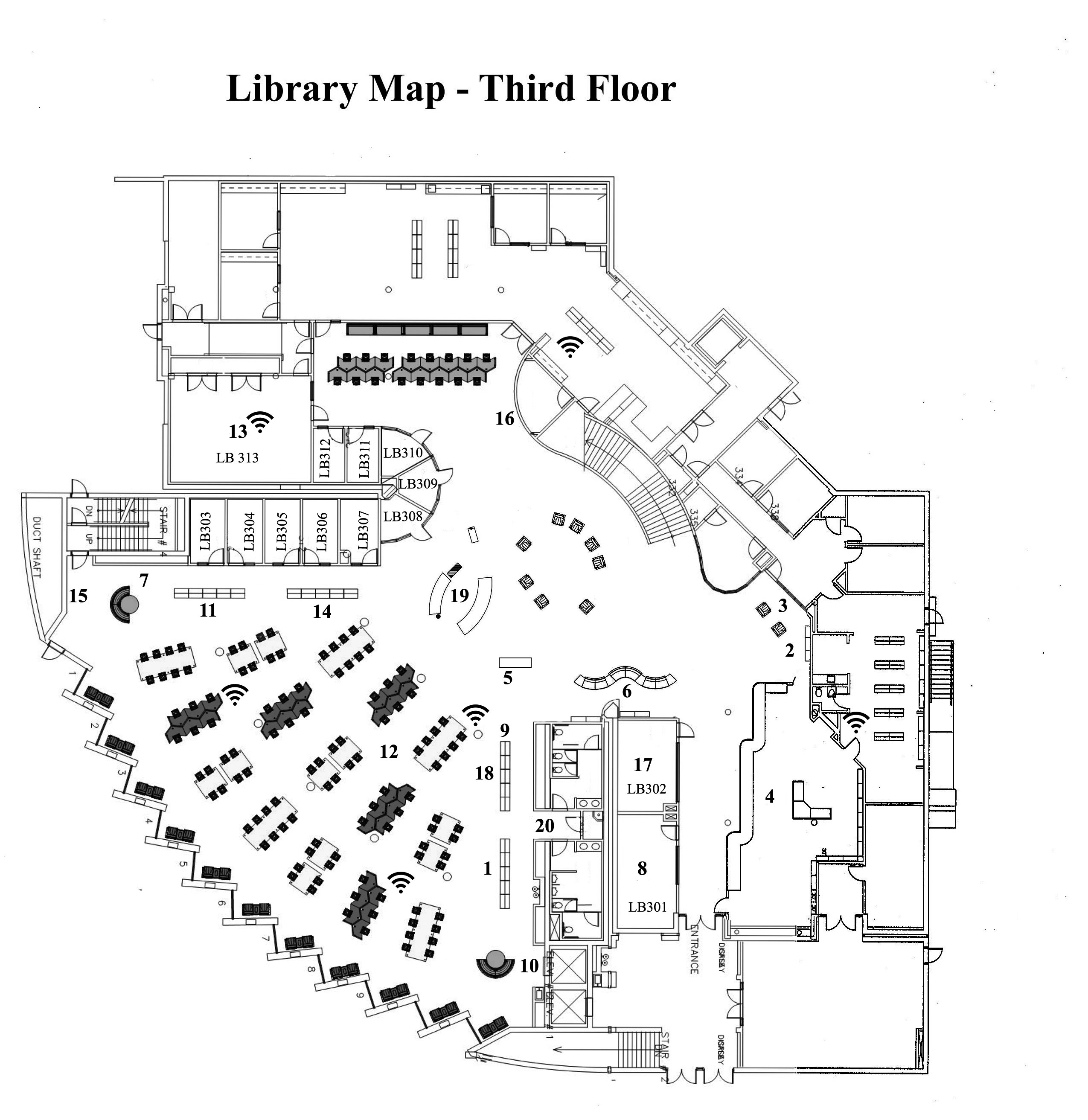 Floor Plan of Library 3rd Floor