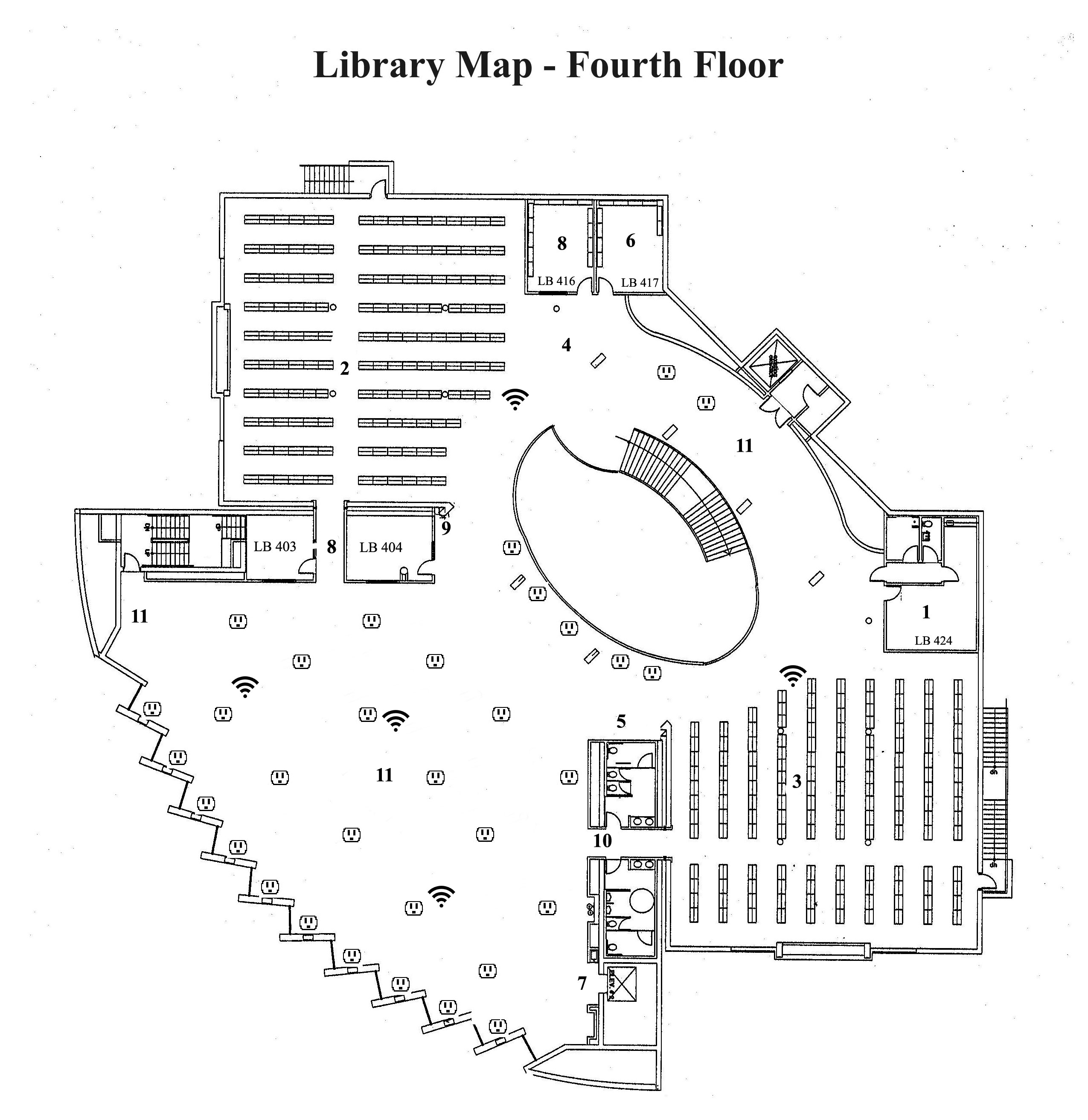 Floor Plan of Library 4th Floor