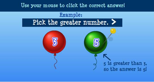 Sheppard Software math game Balloon Pop