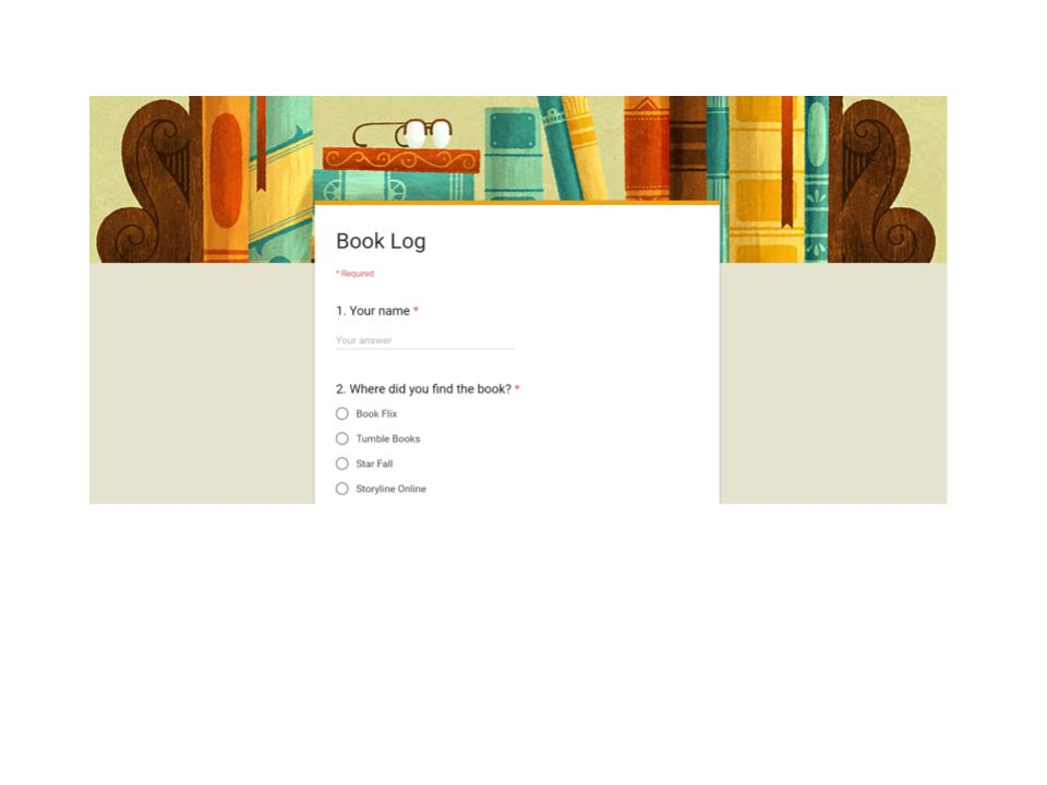 Screen shot of google form for book log