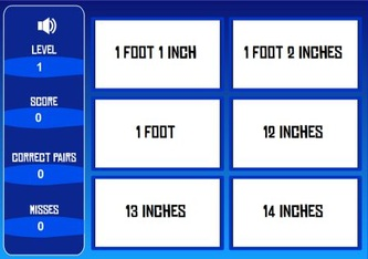 inches to feet math game
