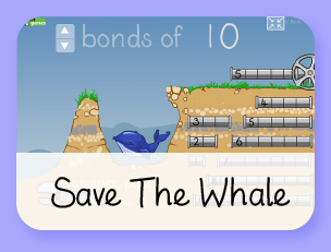 Save the Whale Bonds of 10 math game