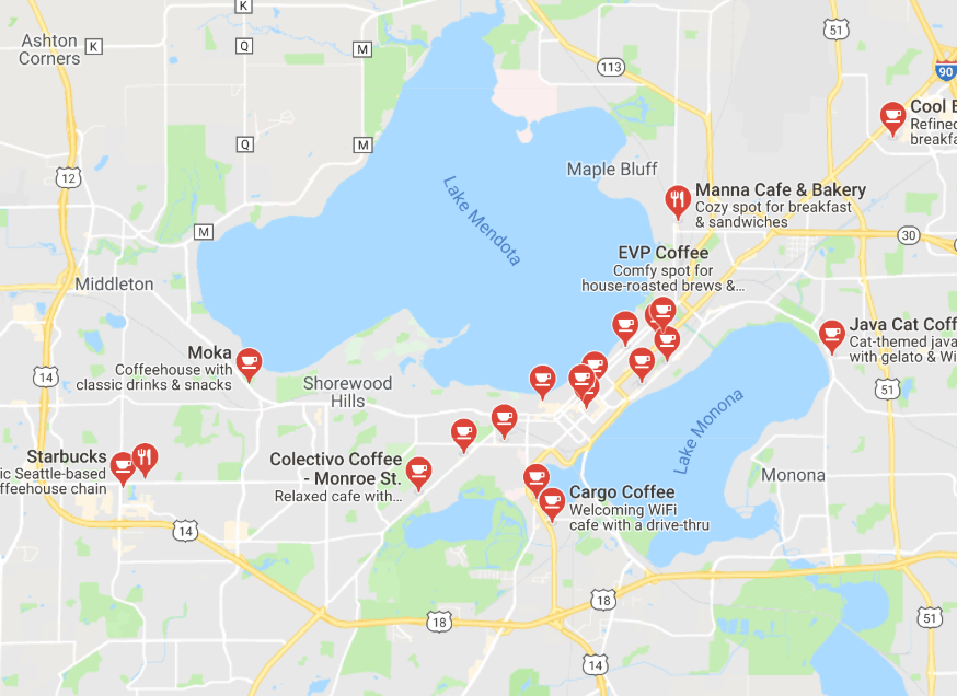 Map of Madison Free WiFi