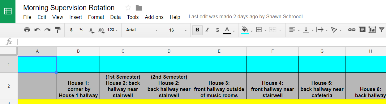 shrunken screenshot of the morning supervision schedule spreadsheet